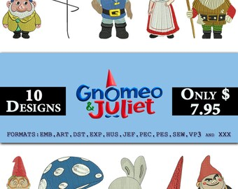 10 Gnomeo & Juliet-Sherlock Gnomes Embroidery Design, Juliet Character Embroidery, Gnomeo, Juliet, The Goons, Trybalt , Benny,Lord-redbrick