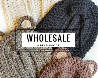 WHOLESALE Bear Hoods: 8 Hood Set for Boutique Shops & Vendors. Toddler Boutique Inventory