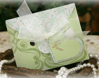 Soft Green Spring Gift Card Holder Box Set - FREE Shipping Baby Shower Gift Bag, Party Favor or Wedding Gift Wrap, by handmadewithlove13