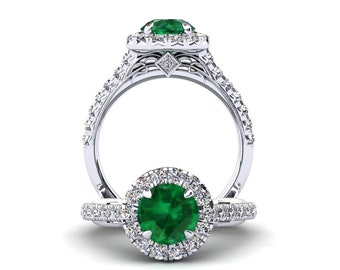 Emerald Engagement Ring 1.50 Carat Emerald And Diamond Ring In 14k or 18k White Gold Style Number WH1GW