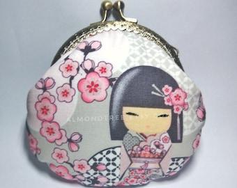 Japanese kokeshi doll sakura, handmade clasp purse, kisslock snap metal frame purse id1710172 portefeuille, portmonnaie, change pouch