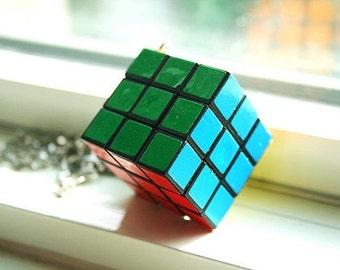 Mini Rubiks cube on the go necklace