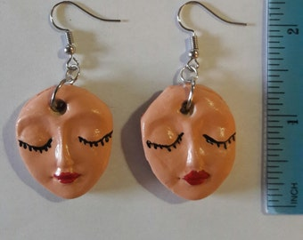 Closed Eyes Doll Face Earrings Polymer Clay
