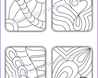 Strings for drawing zentangles_15. Zentangle starter pages. Tangle pattern printable string, PDF.