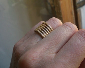 Gold spiral ring // wide band ring // Gold statement ring // gold jewelry