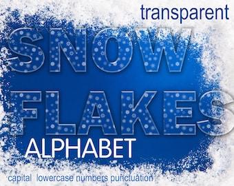 Digital Christmas transparent Snowflakes Alphabet for scrapbooking, Papercrafts, Decor, Fabric, Pillow, xmas clip art, Instant Download, #61