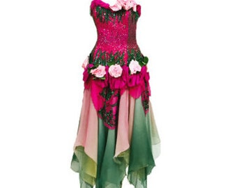 Vintage Rare Zandra Rhodes Pink and Green Floral 'Mount Olympus' Gown 1983