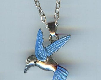 Big HUMMINGBIRD with Blue Wings and Tail Charm, Pendant with .925 Necklace - R33