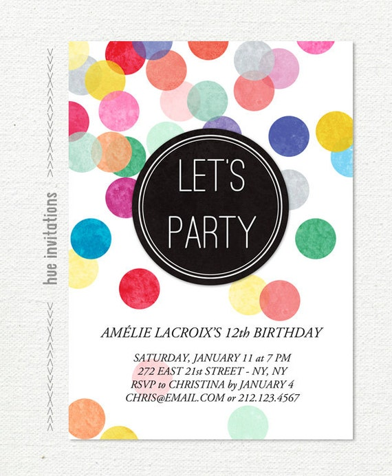 12th birthday party invitation rainbow confetti birthday