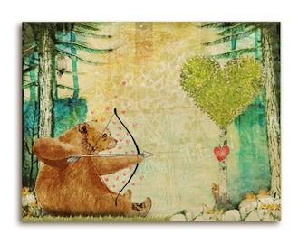 Bear woodland children's art print, whimsical bear in woodland forest, red hearts, cute, archery, owl, fox