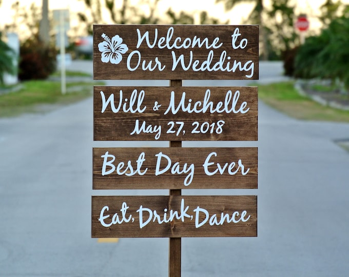 Welcome Wedding Sign, Rustic Wedding Decor Gift for Couple, Best Day Ever Sign, Eat Drink Dance
