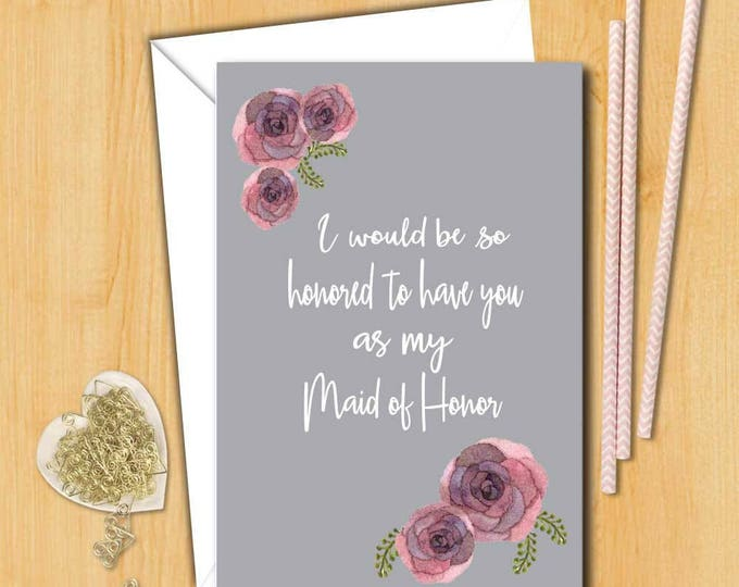 Bridesmaid card   Will you be my maid of honor Card   Wedding Card   Bridal card   Will you be my bridesmaid