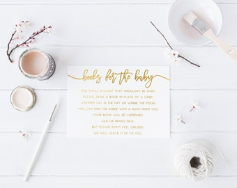 Gold Books for the baby Modern Baby Shower Details Card Calligraphy Baby shower modern Invitation Gold and white Baby Shower