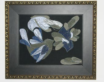 Night Flight - paper and thread birds - 8X10 art framed - simple shapes with acrobatics