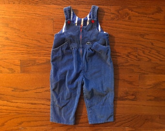 Vintage 90's kids lacoste blue corduroy striped overalls