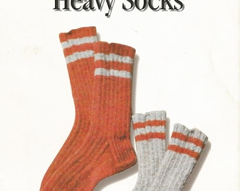 Knit Heavy Socks Pattern - Knitting Pattern Instant PDF Download Adult & Child Sizes - Briggs and Little Knitted Sock Pattern
