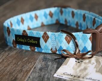 "Dog Collar, Dog Collars, Argyle Dog Collar, Boy Dog Collar, Girl Dog Collar, Male Dog Collar, Preppy Dog Collar, ""The Bookworm in Blue"""