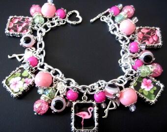 Flamingo Bracelet, Flamingo Jewelry, Bird Bracelet, Bird Jewelry, Pink Black Bracelet, Pink Black Jewelry, Florida Bracelet, Florida Jewelry