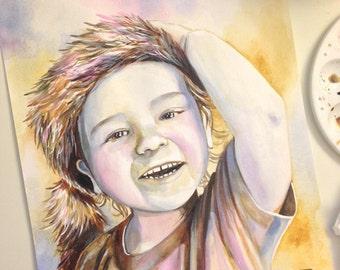 BABY PORTRAIT PAINTING, custom watercolor portrait, child portrait painting, toddler portrait painting, kid portrait painting, personalized