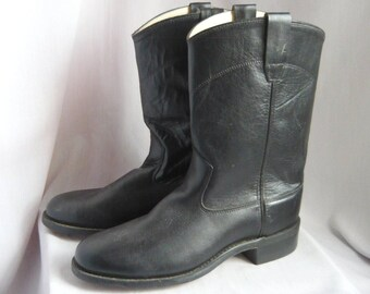 Vintage OLD WEST Roper Boots / All Leather Ladies Size 8 .5  9 Eur 39 UK 6  / Western Ankle boot Mens sz 7 B
