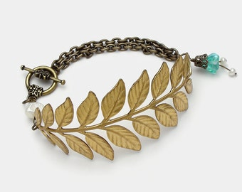 Gold Leaf Bracelet, Fern Bracelet with Genuine Pearls, Blue Aquamarine Glass Flower Charm & Filigree, Victorian Styled Brass Chain Bracelet