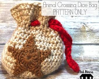 Dice Bag Pattern - Animal Crossing Dice Bag Pattern - gift for geeks - crochet pattern