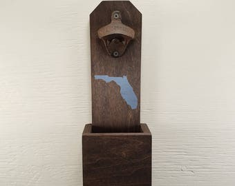 Customize State & Color Wall Mounted Bottle Opener, Florida, Bottle Cap Catcher