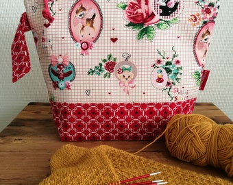 """Project bag small/medium """"Fairy-tale"""", lined and interfaced, Leukgemaakt, knitting bag, crochet, gift for her, birthday present, Christmas"""