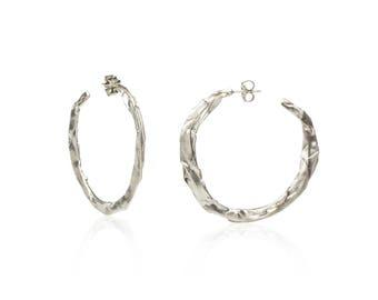 Large Silver Hoops, Hoop Earrings, Folded Metal Hoops, Extra Large Hoops, Sterling Silver Hoop Earrings, Flat Hoops