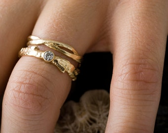 14k Gold Diamond Branch and Twist Set   Stacking Rings   Handmade Rings