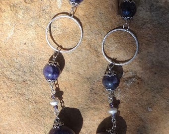 Amethyst and Sterling Necklace--Sterling snake--Very GOT