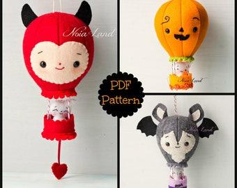 PDF Pattern. Halloween balloons. Devil, bat and pumpkin