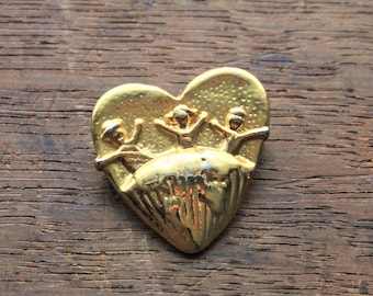 Save the Children Brooch, Vintage Gold EFS pin
