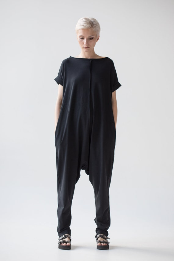 jumpsuit off Japanese summer One harem fitting punk A0120 black adult streetwear baggy loose overalls piece casual pants shoulder romper Onpq0g