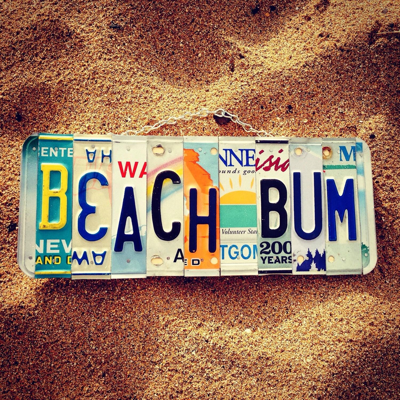 BEACH BUM License Plate Art Made in Hawaii. Beach Decor