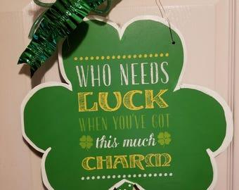 St Patrick's day, st patty's day, shamrock, 4 leaf clover, door hanger, door decor, st pats, home decor, lucky, st Patrick's day door decor