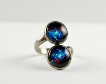 Space Sparkle Ring : Galaxy Ring. Double Ring. Vintage Silver. Universe Jewelry. Silver Ring. Blue Space Jewelry. Handmade Jewelry