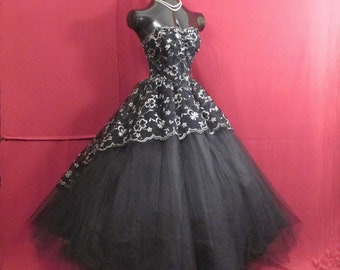 Vintage 1950's 50s Strapless Black Metallic Silver Rhinestones Lace Tulle Party Prom Wedding DRESS