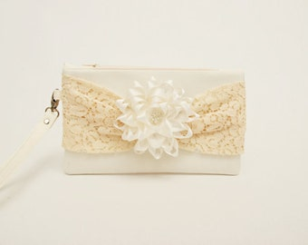 Bridesmaid clutch Ivory creme  lace bow wristlet  clutch and flower ,bridesmaid gift ,wedding gift ,zipper pouch