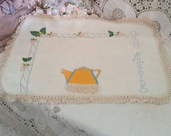vintage doilies, very rare, teapot with lace, good morning text, pretty fuschias, crocheted edge