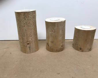 Driftwood Candle Holders, Wedding Center Piece, Mantel Center Piece, Wooden Candle Holder, Rustic Candle Holder, Log Candle Holder, Set of 3