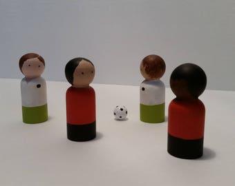 Peg doll soccer team