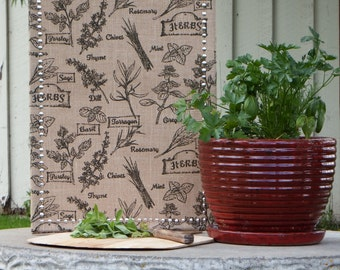 SET: Garden Herb Burlap Covered Medium Cork Board - Pin Board Set - Message Board Set - Bulletin Board Pushpin Set- Silver Border