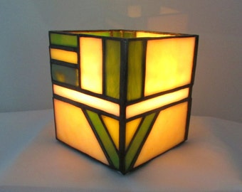 Yellow and Green Stained Glass Candle Box