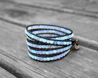 Blue Leather Bracelet Beaded Bracelet Leather Wrap Bracelet 4mm Beaded Bracelet Birthday Gift Girlfriend Gift