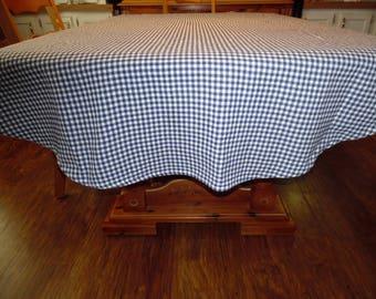 Vintage Farmhouse Tablecloth Homespun Blue and White Check  Oval Tablecloth ECS SVFT