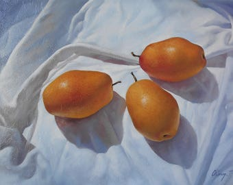 Still life with Pears/ Oil on Canvas/ 50X40CM / Free Shipping
