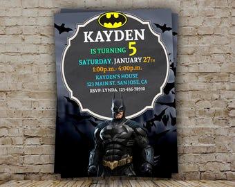 Batman Birthday Invitation, Batman Birthday Invitation, Batman Invitations, Batman Party Invitation, Batman Birthday