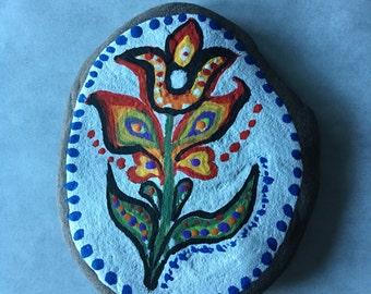 Hand painted rock folk art floral paperweight home decor bohemian rock