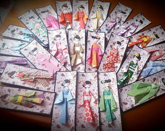 Origami geisha bookmark
